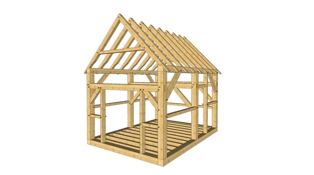 12x16 timber frame shed1 baja centrado