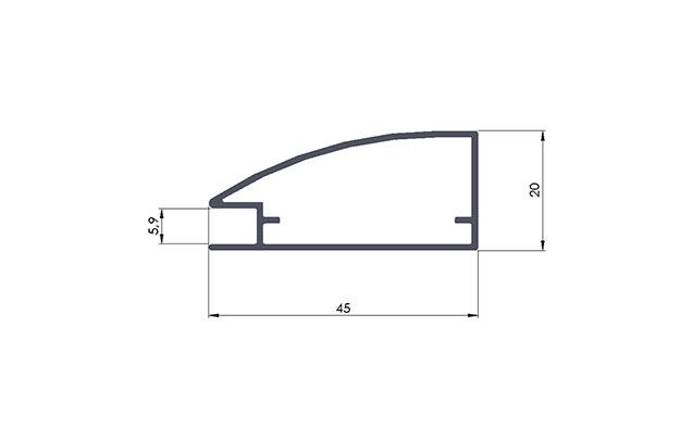 Perfiles de Aluminio Perfil de Aluminio alacena curvo descripción 1